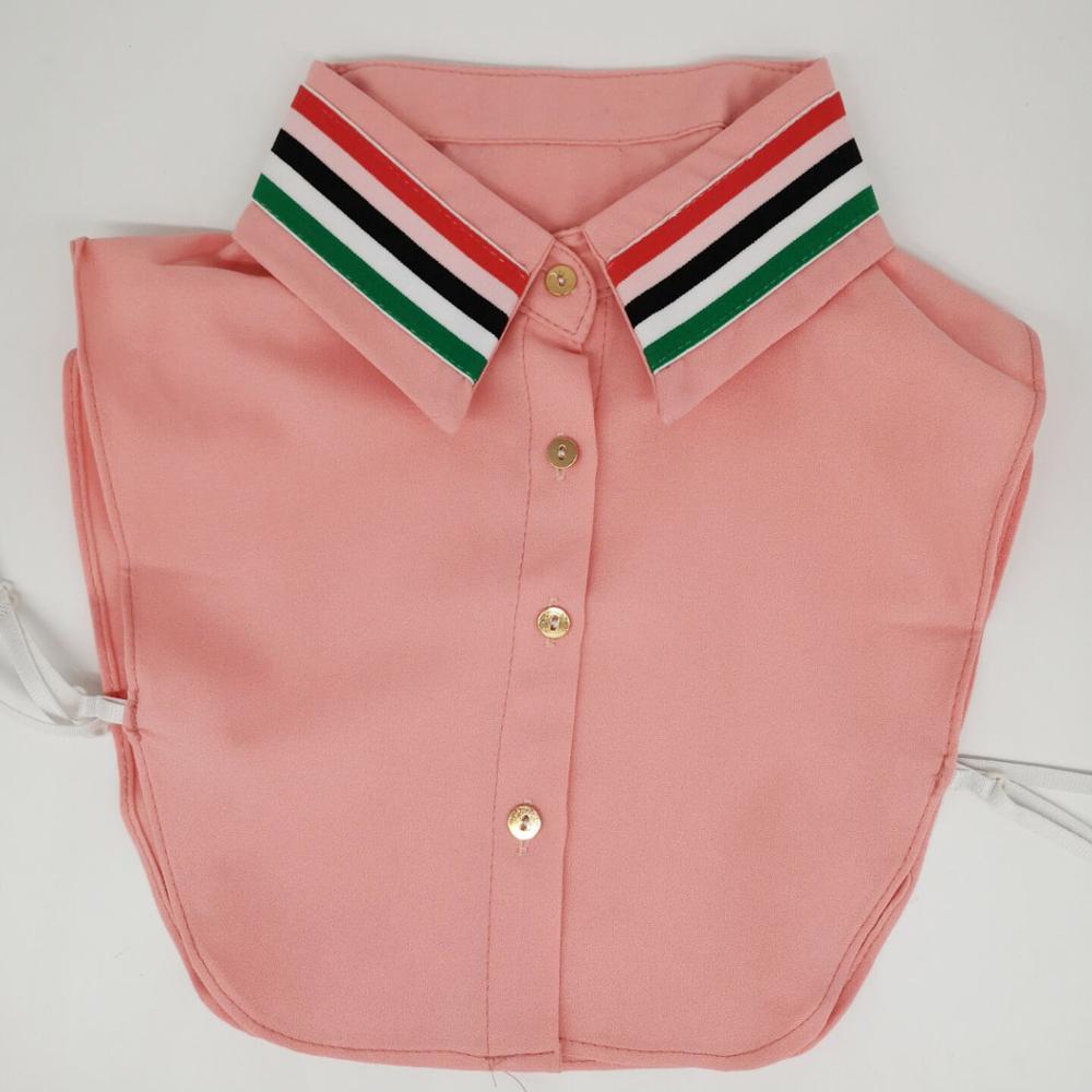 Womens Fake Collar Chiffon Blouse Detachable Collar Pink Strips Elastic Webbing Kraagje Nep Dames Col Bluz Necklace Croptop