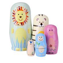 5 stücke Cartoon Tier Holz Russian Nesting Matryoshka Puppen Set Gemalt Spielzeug