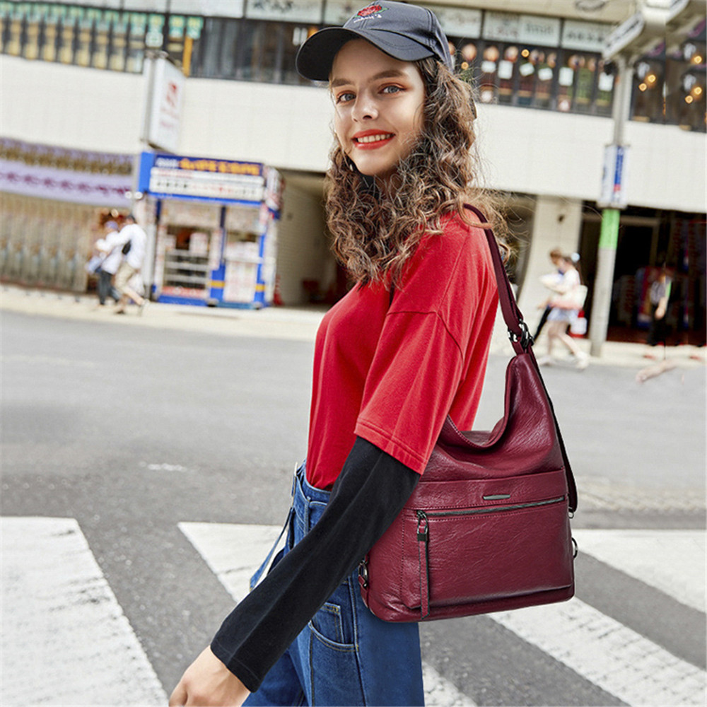 Image 2 - Ladies Leather Hand Bags 2019 Multifunctional Vintage Luxury 