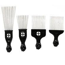 Dentes largos uso do salão de beleza preto metal americano africano picareta pente inserir encaracolado escova de cabelo afro pente para cabeleireiro estilo ferramenta