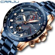 Mens izle üst lüks marka CRRJU İzle moda spor su geçirmez Chronograph erkek paslanmaz çelik kol saati Relogio Masculino