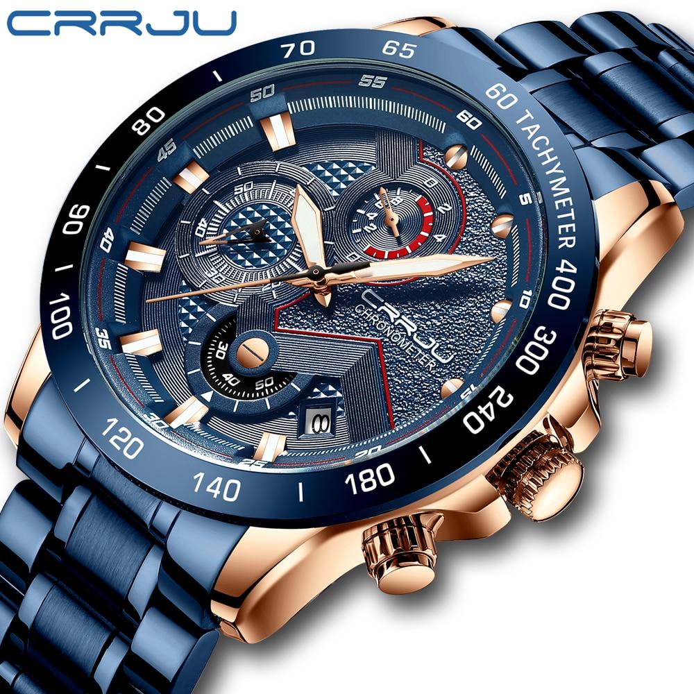 Top Luxury Brand CRRJU New Men Watch Fashion Sport Waterproof Chronograph Male Satianless Steel Wristwatch Relogio Masculino