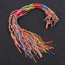 10 sztuk/zestaw nowy kolor tęczy Mix Braid bransoletki przyjaźni dla damska biżuteria na prezent DIY Handmade liny bransoletki losowa dostawa