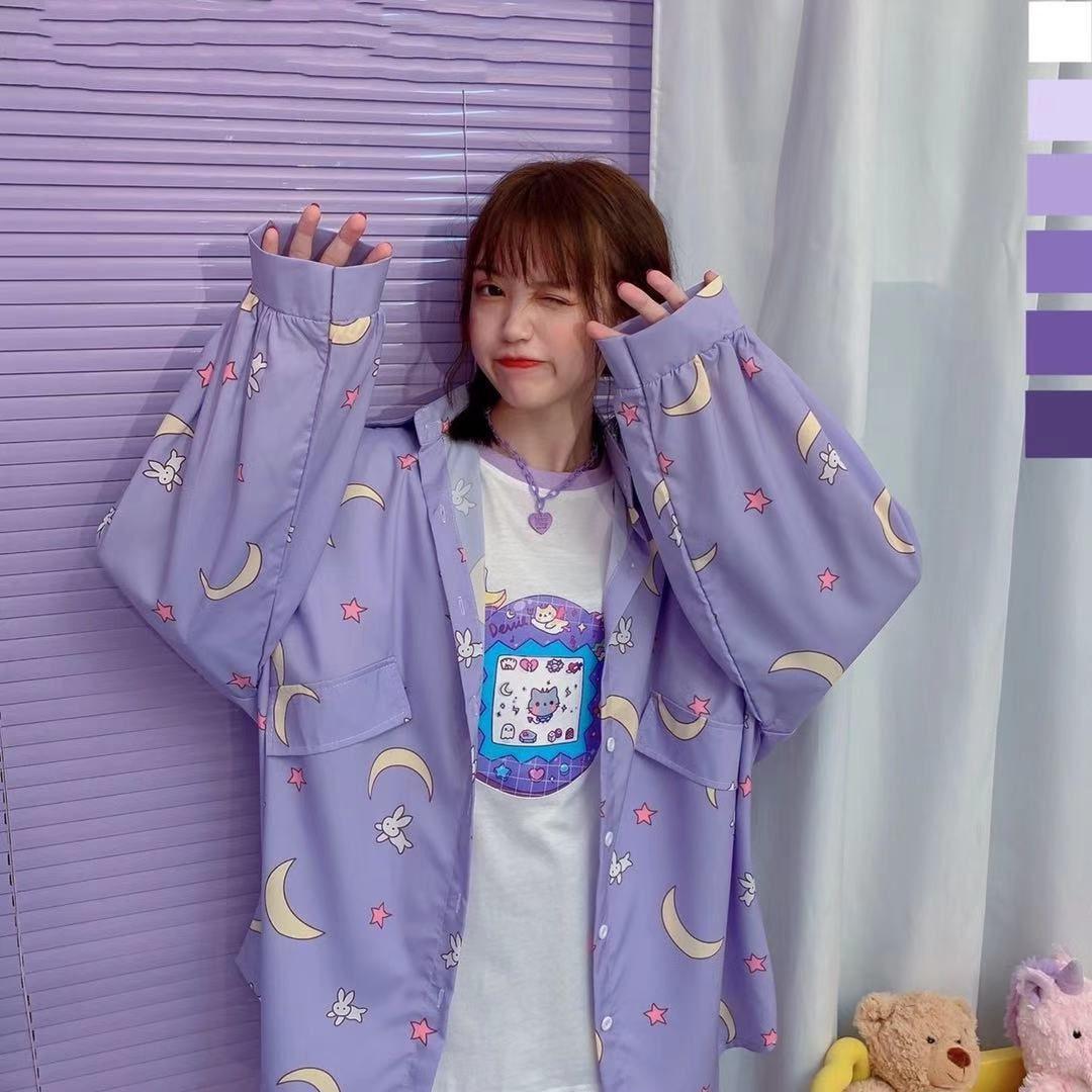 Korean Style Women Shirts Kawaii Autumn Fashion JK Uniform Blouses Women Long Sleeve Cute Loose Button Up Shirt Oversized Tops