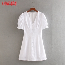 Tangada fashion women solid embroidery summer dress short sleeve v neck buttons
