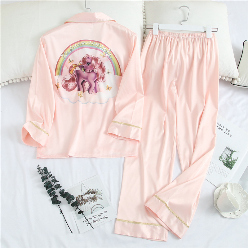 Fiklyc Spring And Summer Pajamas Women Sweet Cute Bud Silk Home Service Comfortable And Breathable Two-Piece Suit