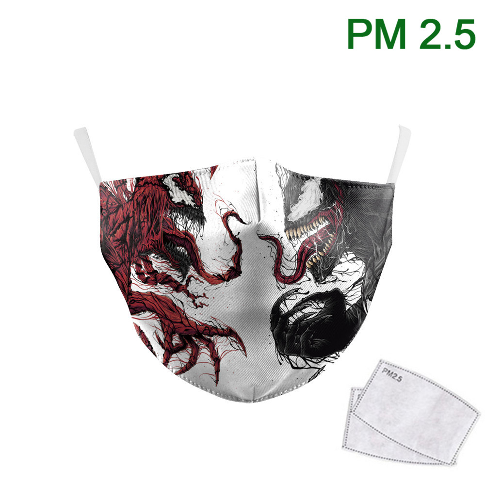 Superhero Venom Print Masks Kids Face Mask PM 2.5 Protective Dust Fabric Masks Children Washable Adult Mouth-Muffle Reusable