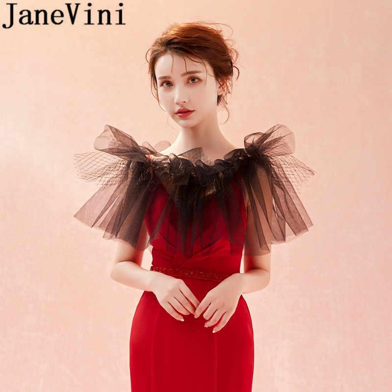 JaneVini Net Preto Tulle Mulheres Boleros 2019 Sexy Vermelho Capas De Noiva para Vestido de Noiva Ombro Capa Casamento Wraps Xaile Shrug top