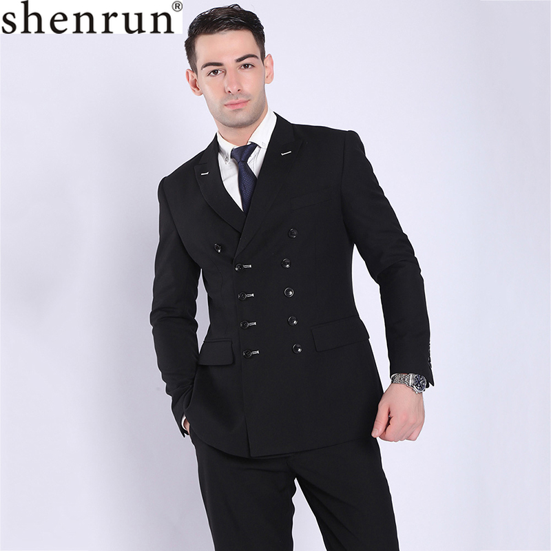 Shenrun Fashion Men Suits Black Navy Blue Double Breasted Suit Jacket Pant Slim Fit Casual Blazers Business Party Formal Costume