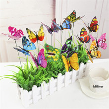 10PCS/Lot Artificial Butterfly Garden Decorations Simulation Butterfly Stakes Yard Plant Lawn Decor Fake Butterefly Random Color