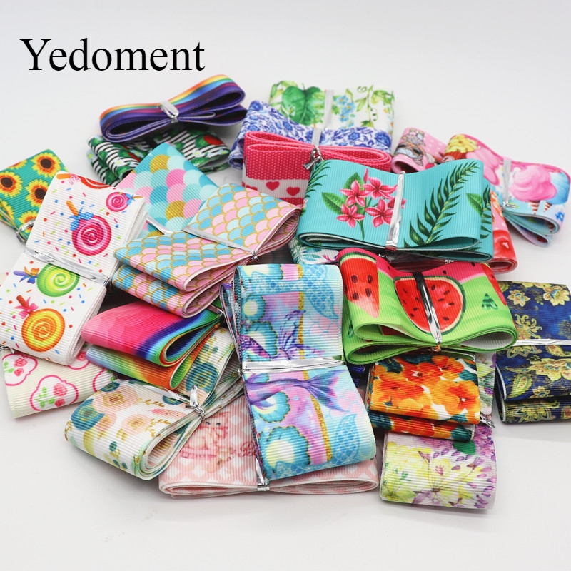 Mix 10 Designs,10Yards/Lot Cartoon Flowers, Etc.Printed Grosgrain Ribbon For Hair Bows DIY Crafts Handmade Accessories