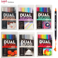 Tombow Brush Pen Set Watercolor Drawing Marker Pens Smooth Art Brush Markers Color Caligraphy Lettering Tombow Dual Brushpen