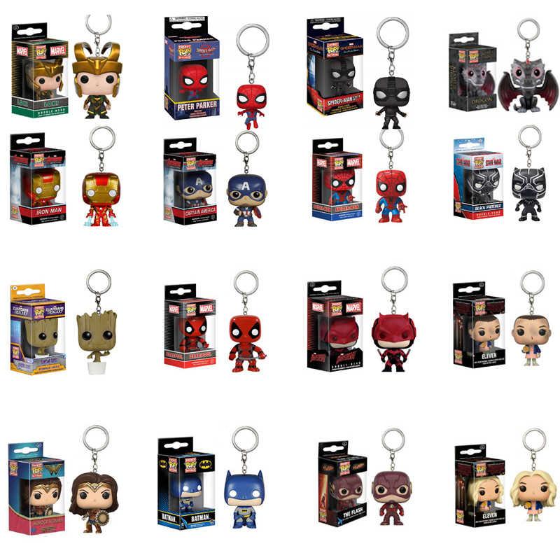 Funko pop marvel avengers & coisas estranhas batman flash grootted peter parker spider-homem figuras de ação brinquedos para crianças presente