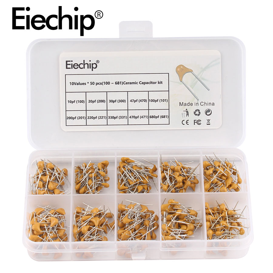 10Values*50pcs 10pF~680pF (100~681) Multilayer/Monolithic Ceramic <font><b>Capacitor</b></font> Assorted kit with storage box 10 20 30 47 100 200 <font><b>pF</b></font> image