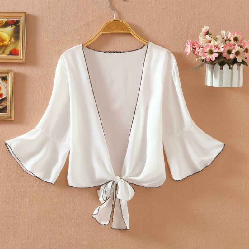Hollow Out Lace Kimono Cardigan Blouses Women 2020 Summer Short Sleeve Top Casual Sun Protection Clothing White Sunscreen Shirt