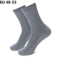 Plus Size EU 50 51 52 winter Men cotton thick Socks Solid Color high quality Tube Crew Business Socks 6 Pairs Classic Man Socks