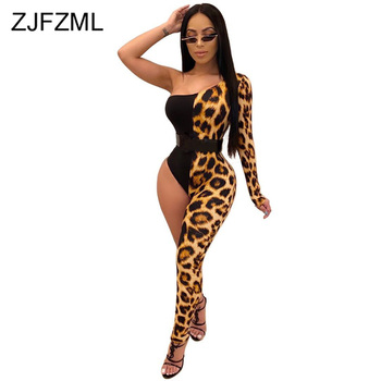 Sexy Club Panelled Leopard Romper Women One Shoulder Open Back Bandage Party Jumpsuit High Waist Asymmetric Bodycon Playsuit 2018 summer female sexy bodycon jumpsuit solid high waist romper casual bandage romper streetwear