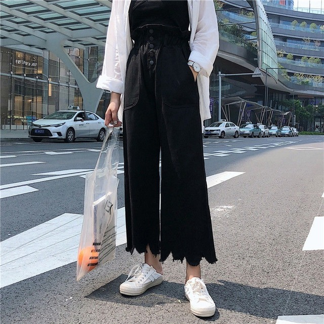 Jeans Women Solid Vintage High Waist Wide Leg Denim Trousers Simple Students All-match Loose Fashion Harajuku Womens Chic Casual 6