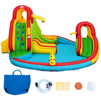 Kids Inflatable Climbing Wall Water Slide Pool Park Bounce House without Blower