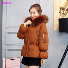 2019 autumn and winter new European and American women's loose large fur collar hooded waist zipper pocket long sleeves Parkas 2019 new style european and american autumn and winter thickening cashmere sweater women s sleeves top collar short sleeves