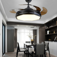 Invisible Ceiling Fan Lamp with c Diamond Lights 110v 220v fans for Living Dinnering Room Home Low Profile Blades