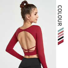 Yoga Tops Women Long Sleeve Sport Shirts Girls High Elastic Fitness Clothing Backless Dry Fit Gym Sportswear Workout Top NCLAGEN