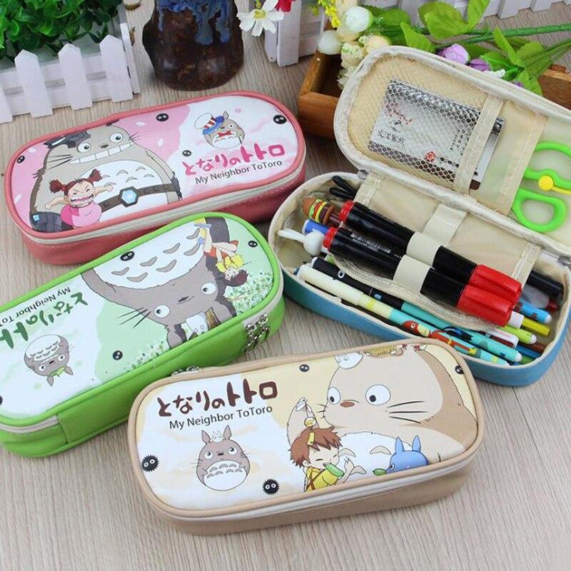 1 Pcs Cartoon My Neighbor Totoro Super Mario Pencil Case PU Large Capacity Stationery Zipper Pencil Bags Gift Stationary