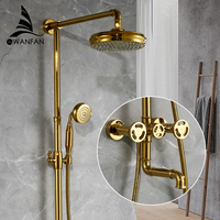 Shower Faucets Matte Gold Bathtub Faucet Round Tube Single Handle Top Rain Shower With Slide Bar Wall Water Mixer Tap 20F06K