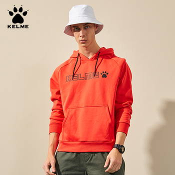 цена KELME Men's Fleece Hoodies Men Couples Hip Hop Sweatshirt Male Japanese Streetwear Orange Yellow Hoodie Men Hoodiee худи 3891563 онлайн в 2017 году