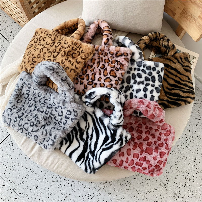 2019 New Women Winter Faux Fur Shoulder Bag Handbag Lady Leopard Print Handbag Female Party Small Girls Tote Bag Christmas Gift