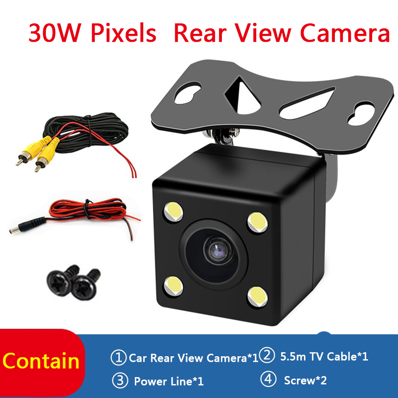 Car 170° Reversing Rear View Camera Backup Parking 4 LED Night Vision Waterproof title=