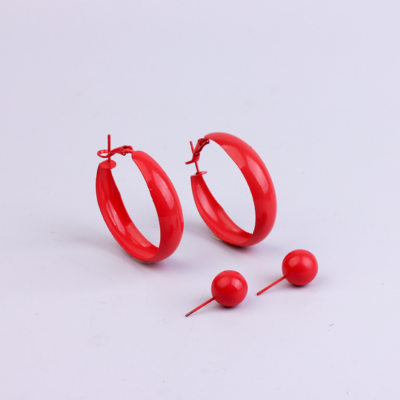 H129be1732958402d8b52b2ece2d91101s - 2 Pair Lot Painted Metal Trendy Hoop Earrings Pearl Gold Hoops Earring Set Green Fashion Jewelry Colorful Red Earrings For Women