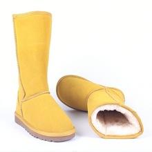 Śniegowce wysokiej jakości kozaki damskie oryginalne skórzane Australia klasyczne damskie wysokie buty zimowe buty damskie buty śniegowce tanie tanio HIUVTG CN (pochodzenie) Prawdziwej skóry Skóra bydlęca Połowy łydki Szycia Stałe Dla dorosłych Mieszkanie z Buty śniegu