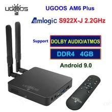 UGOOS AM6 Plus Boîte de TÉLÉVISION Android 9.0 Amlogic S922X-J 4GB / 32 GO 2.4G 5G Double WiFi BT 5.0 4K Lecteur Multimédia HD Télécommande Vocale