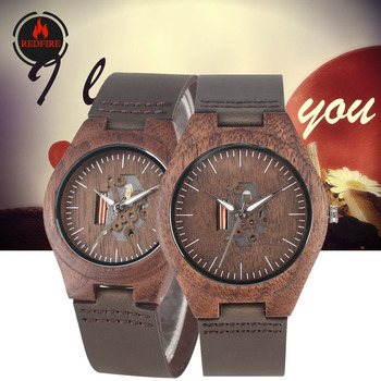 REDFIRE Creative Hollow Dial Walnut Wood Watch Couple Watches Quartz Movement Hot Fashion Lovers Genuine Leather Wood Wristwatch hot fashion classics black leather lover s watches creative couple gift for lovers geometric quartz luxury band wristwatch