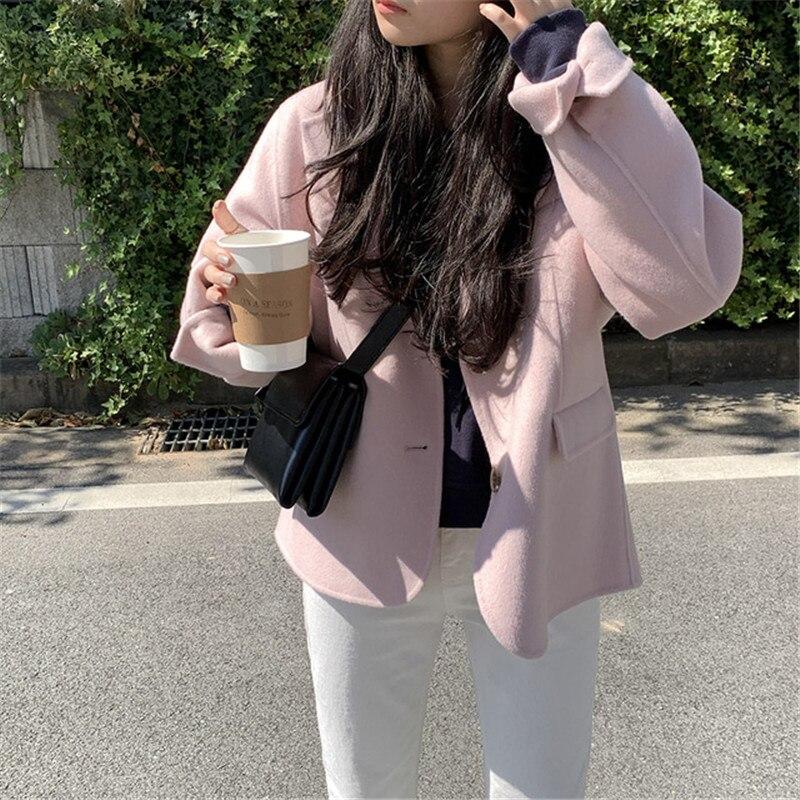 H129c3f4f92d84b5b995fda83bfcdde5cn - Winter Korean Revers Collar Solid Woolen Short Coat