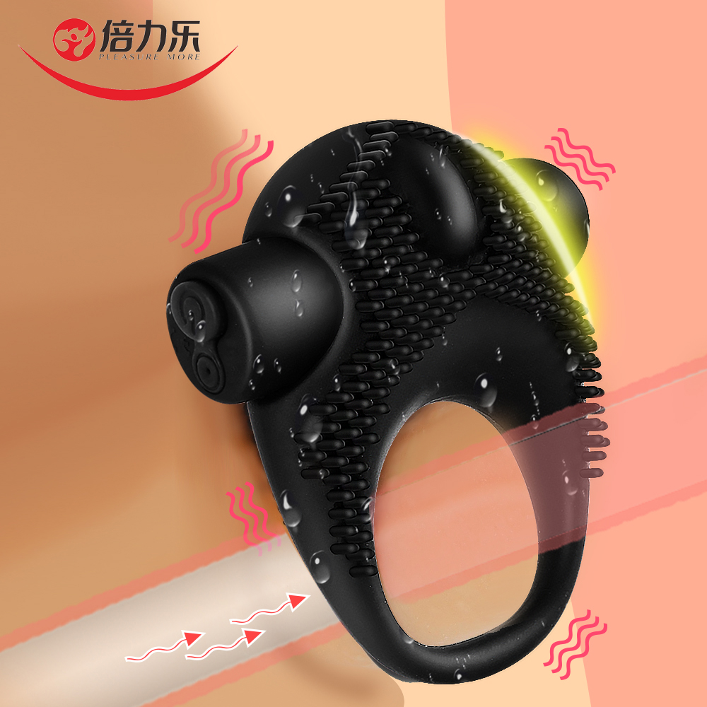 Beilile Delayed Ejaculation Penis Ring Vibrator Studs USB Charging Silicone Cock Vibrating On Dick For Sex Men Cockring