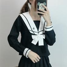 Preppy Style Japanese School Uniform Kawaii Girls Sailor Uniform Cute Sailor Tops Pleated Skirt Student Uniforms