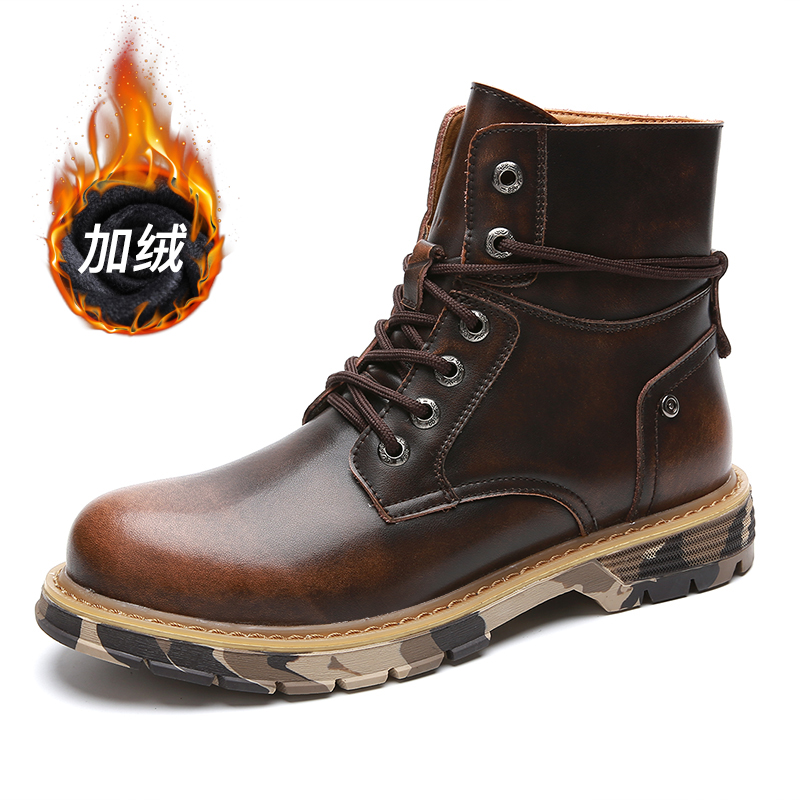 New Spring Men Outdoor Boots Warm With Fur Work Boots For Men Top Quality Leather Casual Sneakers Man Wine Red Mens Motorcycle Boots