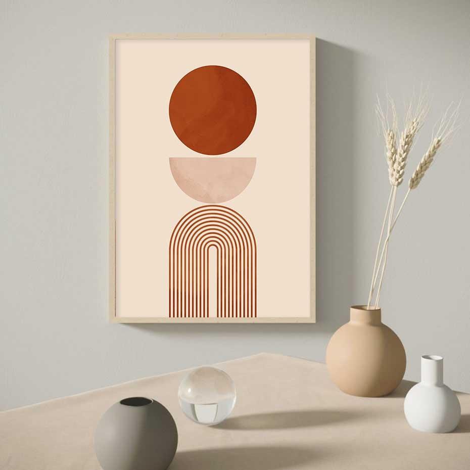 Trend bej geometrik soyut duvar sanatı baskılı tuval resimleri resimleri baskılar ve posterler oturma odası ev dekorasyon için