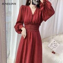 JuneLove 2020 Spring Women printed Ruffles Dress Lady V-neck
