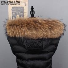 Ms.MinShu Raccoon Fur Collar Natural Fur Trim for Hood Custom Made Fox Fur Collar Trim for Down Coat Hood Natural Fur Collar