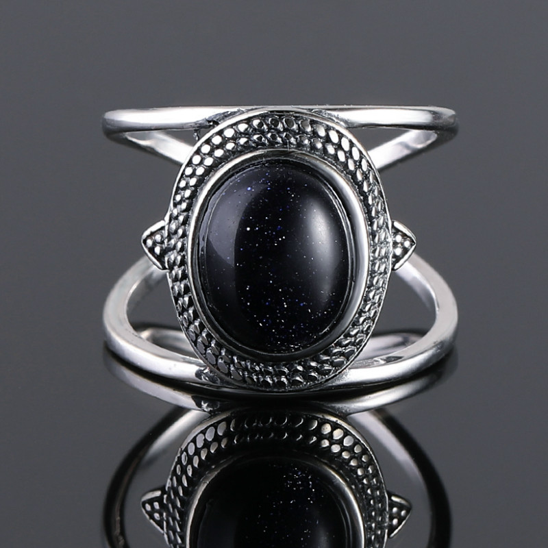 Nasiya Luxury Oval Blue Sandstone Rings For Women Solid 925 Sterling Silver Jewelry Finger Ring Gemstone Rings Party Gift