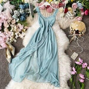 STARK 2020 летнее корейское пляжное платье для отдыха, сексуальное платье на бретелях, Стройное платье с оборками и разрезом, Женские Повседневн...