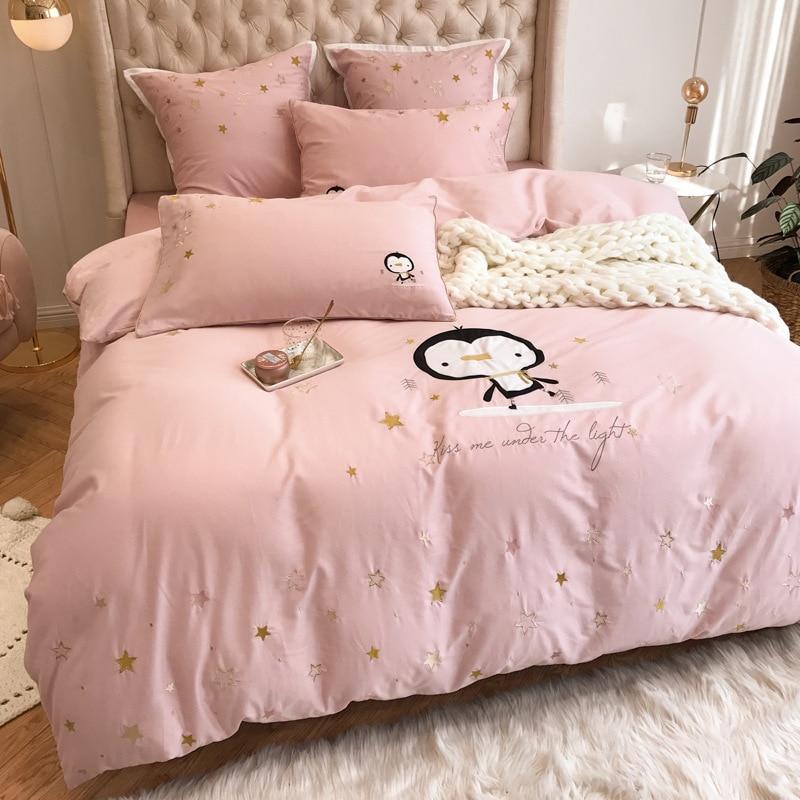ANNAs Good Stuff Girls lovely Home Textile 4pcs Bedding Set PureCotton Pink Bedsheet Princess Gifts Cartoon QuiltCover King Size