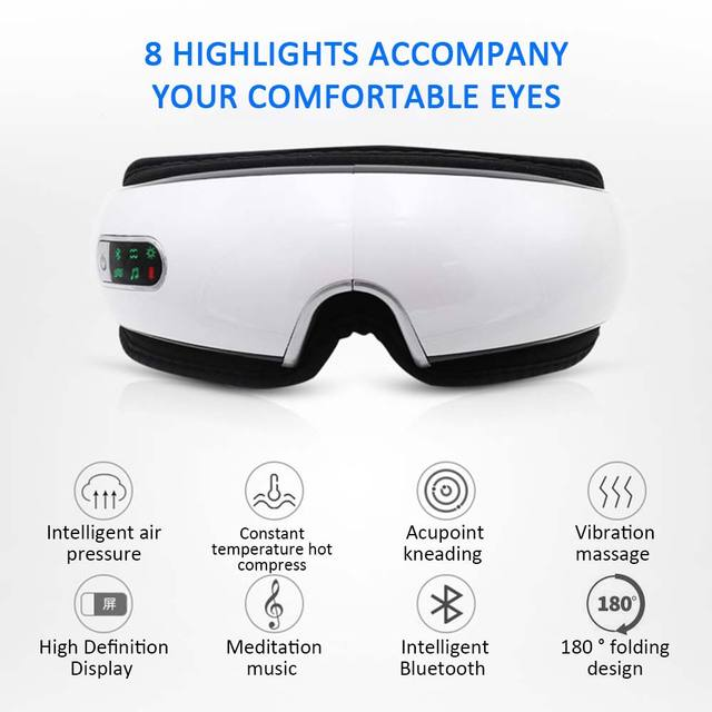 Bluetooth Eye Massager Air Pressures Eye Care Device Wrinkle Fatigue Relieve Eye Vibration Massage Hot Compress Therapy Glasses 2