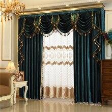 Cortinas de veludo italiano europeu para sala estar quarto luxo cor sólida cortina valance tratamentos janela personalizado