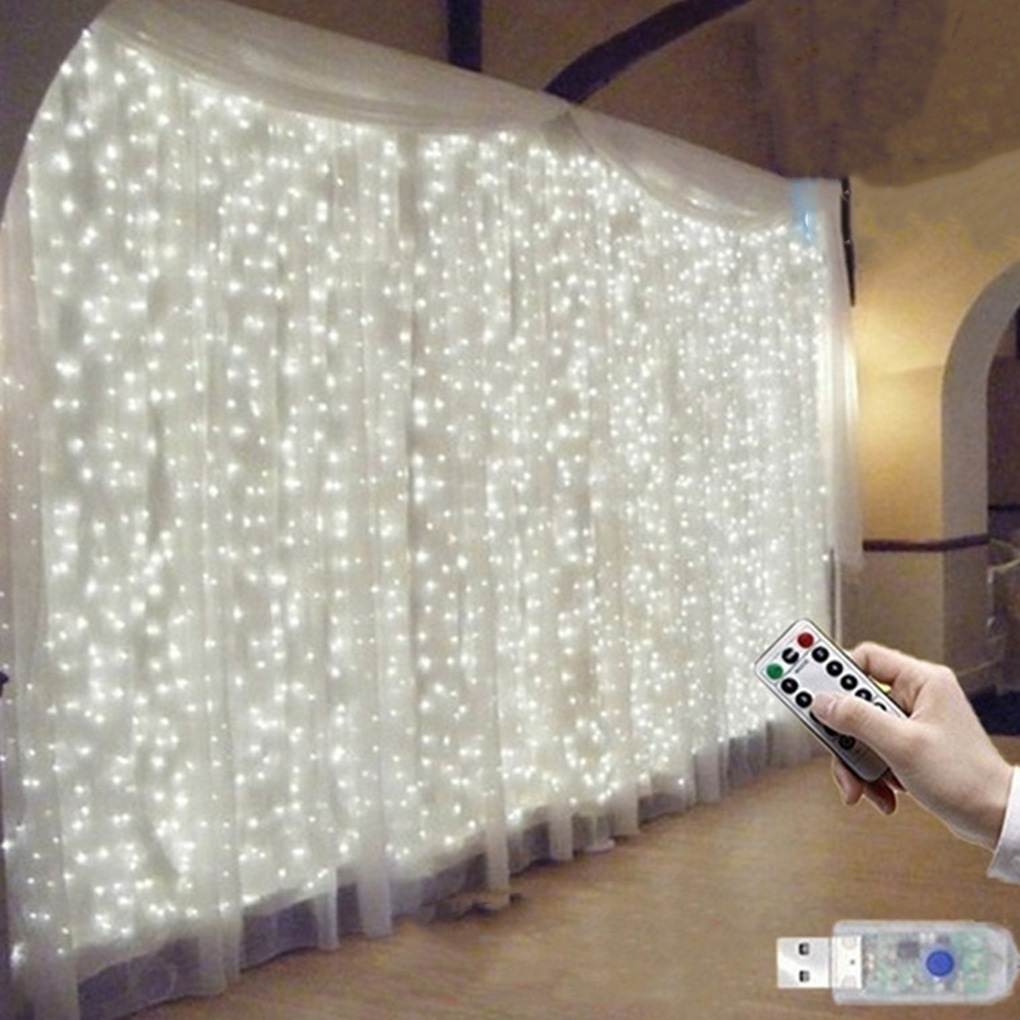 3x3m 300 LED Curtain Fairy String Lights Hanging Backdrop Wall Lamp Wedding Xmas Party Decorations USB Power Global Use