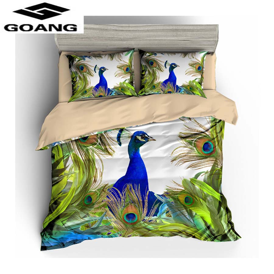 GOANG Bedding 3d Digital Printing Peacock Bed Sheet Duvet Cover And Pillowcase Luxury Home Textiles Factory Wholesale