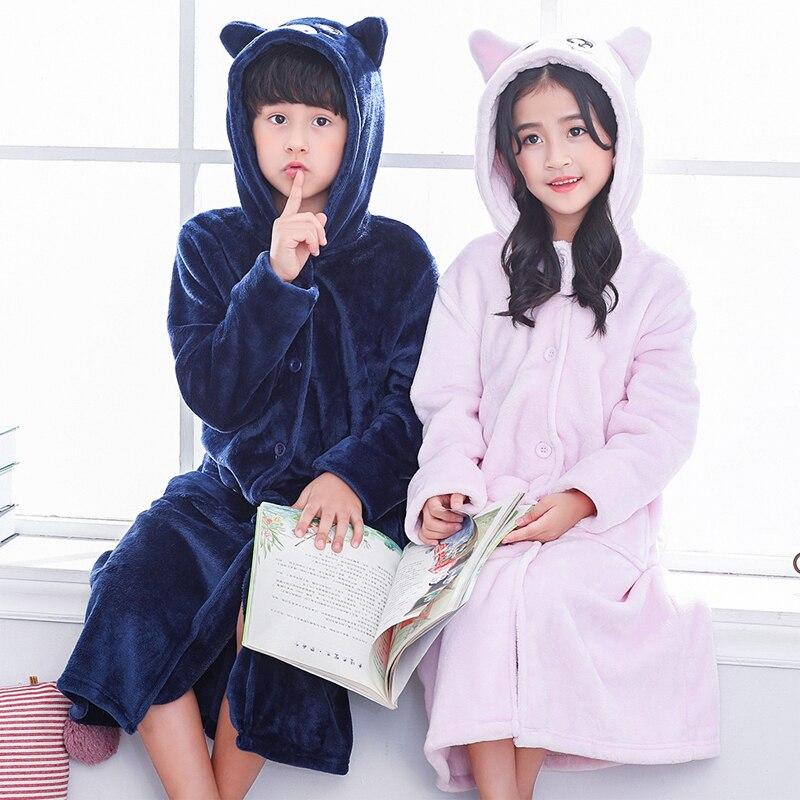 4 KIDZ Boys Kids Childrens Dressing Robe Gown Flannel Fleece Hooded Warm Striped
